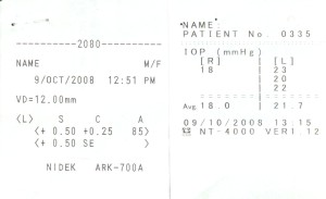 Receipt of vision and IOP measurements